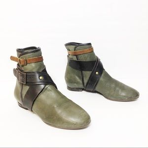 Chloe Leather Ankle Boots Double Strap